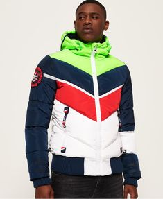 new styles d1a96 546c4 Shop Superdry Mens Mountain Range Puffer Jacket in Green red blue off  White. Buy now with free delivery from the Official Superdry Store.