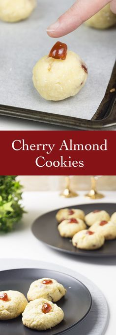 Recipe for Cherry Almond Christmas Cookies is a delicious cookie recipe to add to your holiday baking list. These are great for neighbor gifts as well. #ChristmasCookies #HolidayBaking