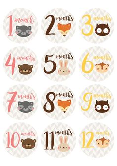 """*Free* printable baby milestone stickers from Countryside Amish Furniture. Print these adorable woodland animal milestone stickers on 2.5"""" diameter labels or simply print them out on standard letter paper!"""