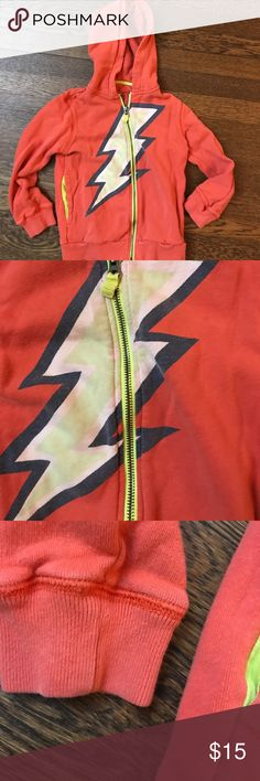 Mini Boden Lighting Bolt Hoodie GUC- this was a favorite so heavy wash wear and fading on the screen Print. Size 5-6 runs narrow. Mini Boden Shirts & Tops Sweatshirts & Hoodies