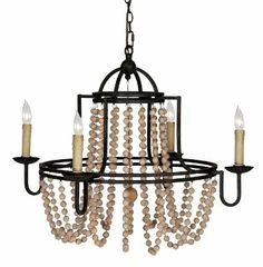 I'm in love!!!! Amazon.com - Sabrina French Country Wood Beaded Swag Black Iron Chandelier -