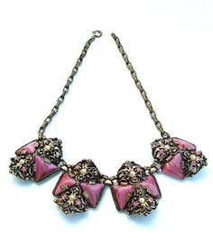 Vintage 2 Strand Turtle Necklace Mid Century Collectible Costume Jewelry 60s Pink Rhinestone Eyes Pink Flower Design