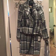 Cream and black 2 piece suit ✅SOLD❗️❗️ Black and cream plaid suit with silver zipper detail Sele' Dresses Mini