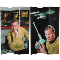 "Oriental Furniture 71"" x 47.25"" Star Trek Tall Double Sided Captain Kirk 3 Panel Room Divider & Reviews   Wayfair"
