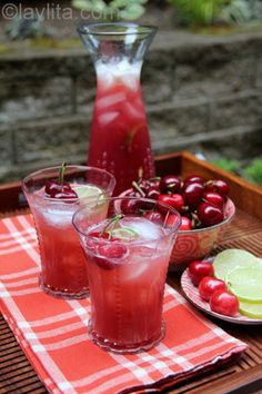Homemade cherry limeade recipe made with fresh cherries, limes, water and sugar (or honey).