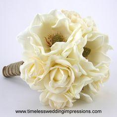 Rustic Bridal Bouquet with Magnolias & Roses
