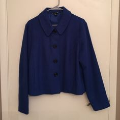 Bright blue jacket. Well made jacket with front pockets and big buttons. Fully lined with a pleat down the back. Briggs New York Jackets & Coats Blazers