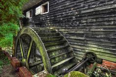 water mill Water Wheels, Moving Water, Water Mill, 1st Century, Old Barns, Le Moulin, Windmills, Natural World, Alexandria