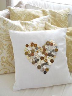 Vintage Button Heart Pillow - A Homemade LivingA Homemade Living