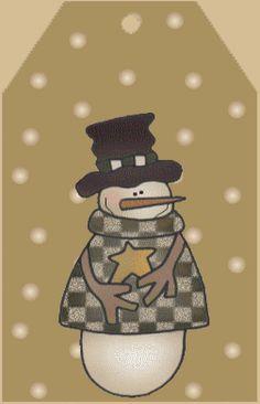 CHRISTMAS SNOWMAN TAG CLIP ART PRINTABLE