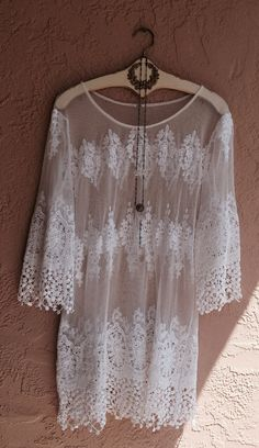Bohemian White embroidered Lace mesh sheer tunic by BohoAngels