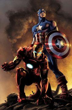 Iron Man and Captain America - Mike Deodato Jr. / Colors by David Ocampo [Marvel] Odin Marvel, Marvel Avengers, Marvel Comics Art, Bd Comics, Marvel Heroes, Captain Marvel, Deadpool Comics, Ultron Marvel, Thanos Marvel