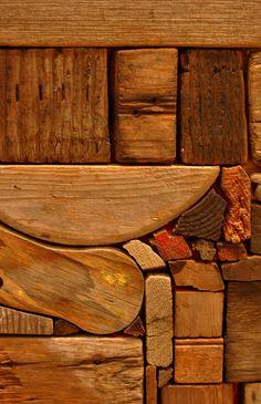 George Morrison detail Driftwood Wall Art, Wooden Wall Art, Wood Sculpture, Wall Sculptures, Intarsia Wood, Reclaimed Wood Art, Wood Mosaic, Wood Scraps, Wood Stone
