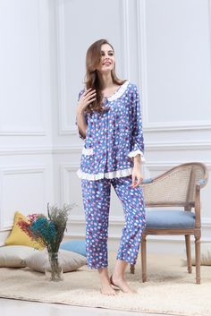 #Cotton #Sleepwear  #TwoPiecesSets #HomeService #Soft #Bedwear #LongSleeves #Lace #NightGown