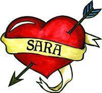 "Sara Temporaray Tattoo by Tattoo Fun. $3.95. A 2""x2"" sized Heart Temporary Tattoo with the Name Sara written in the ribbon."