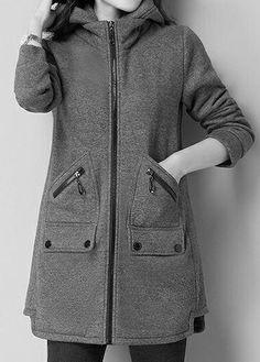 Hooded Collar Zipper Up Pocket Grey Coat. Grey Coats For Women, Jackets For Women, Clothes For Women, Hijab Fashion, Fashion Dresses, Fashion Coat, Hijab Stile, Mode Mantel, Fall Outfits For Work