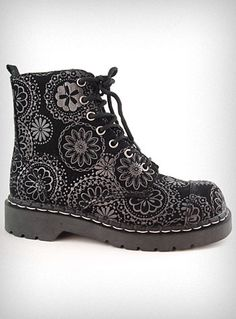 Dark Flowers Combat Boots - My 16 year old self would have wanted these SO BAD.  Actually, my 32 year old self kind of does too.