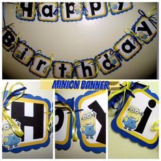 Despicable Me Inspired Birthday Banner with Minions, cousins  Blue, yellow, black, white on Etsy, $26.00