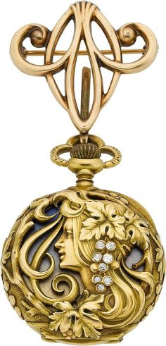 Haas Neveux & Co. Very Fine Art Nouveau Gold, Enamel & Diamond Watch, circa 1905 Case: 18k yellow gold, four body, 28 mm, back pierced and set with diamonds, raised swirl, leaf and foliage, gold cuvette with pastel blue and gold enamel, 28 mm, associated 10k gold pendant pin
