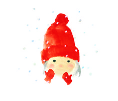 いわさきちひろ「赤い毛糸帽の女の子(1972年)」 chihiro iwasaki