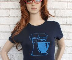 Ladies kitchen Mixer T Shirt, Graphic  Tee Shirt, Cotton, Navy Blue, Cooking, Baking