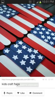 4th of July crafts - Shade loves flags...I bet he would do this one!