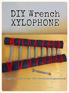 DIY wrench xylophone.