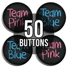 Team Pink & Team Blue Chalkboard Gender Reveal Baby Shower Button Badges - 50 Pack