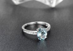 1.60ctw Oval Cut Aquamarine Engagement ring,VS Diamond wedding band,14K Gold,Blue Gemstone Promise Bridal Ring,Women ring,Simple design by popRing on popRing