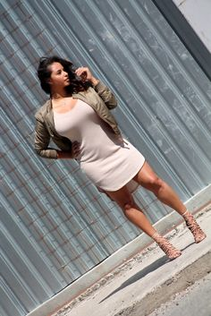 Bomber jacket and nude dress | beyondherreality.com