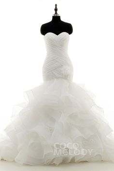 Fancy+Trumpet-Mermaid+Sweetheart+Dropped+Court+Train+Organza+Ivory+Zipper+With+Buttons+Wedding+Dress+with+Flower+Pleating+and+Ruffles+LD3817