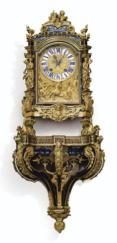 SOLD.  EUR 27,500 - Cartel and console inlaid brown tortoiseshell and brass gilt bronze mount Louis XIV  A GILT-BRONZE TORTOISESHELL AND BRASS MARQUETRY CARTEL CLOCK AND CONSOLE, LOUIS XIV, THE DIAL SIGNED MENU IN PARIS