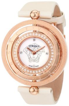 Versace Women's 80Q81SD497 S002 Eon Three Rings Rose-Gold Plated 40-Diamond Mother-Of-Pearl Satin Watch