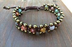 Brass & Fancy Jasper Waxed Cotton Bracelet by TangolundaGifts, $14.50
