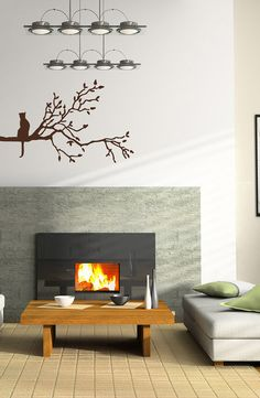 Wall Vinyl Decal Sticker Removable Baby Kid Room Cat on Tree Branch TK182