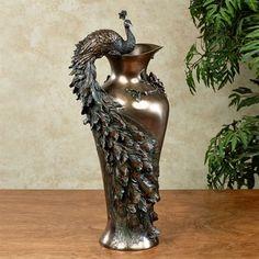 Edeline Decorative Metal Peacock Vase