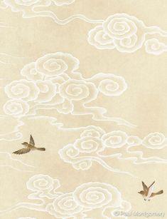 Cloud Illustration, Japon Illustration, Botanical Illustration, Cloud Drawing, Cloud Art, China Art, Japanese Patterns, Flyer, Japan Art