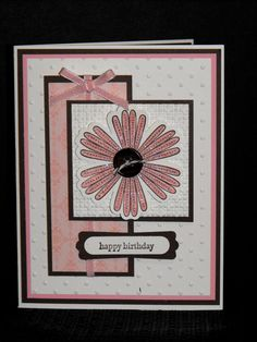 handmade birthday card ..,. pink and white with black matting, ink and button .. Mixed Bunch flower ... like the design ... black mats add a finished look ,,, like it!! ... Stampin' Up!