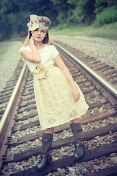 Girls Luxe Lace Shabby Chic Dress vintage inspired by chachalouise, $65.00