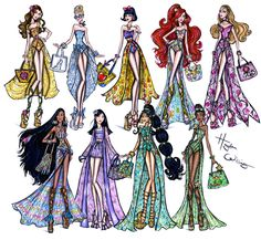 Disney Divas 'Beach Beauties' collection by Hayden Williams.illustration, art, style