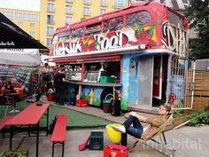 Berlin's Hektikfood is a Two-Story Restaurant in an a Vintage British Double-decker bus - in berlin friedrichshain