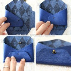 DIY leather pouch as coin purse to keep loose coins or as card pouch to keep loyalty cards or business cards. No sewing needed. Perfect gift to make for men