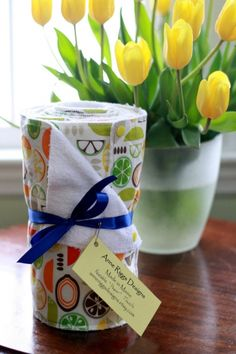 We love these! Reusable paper towels. Snap together into a roll and come in all kinds of patterns. Terry cloth can be washed and reused. Such a great idea!