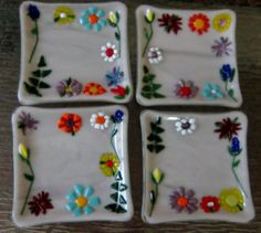 A Walk in Garden Fused Glass Dessert Plates (set of 4) | All Fired Up in Florida