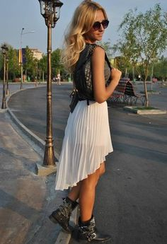 spring dresses to wear with cowboy boots | ... and belted cowboy boots, asymmetrical white dress, and black vest