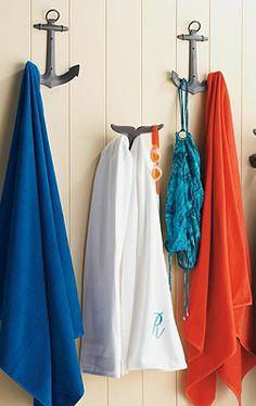 So love the nautical theme, I want this for my pool area. Nautical Bathrooms, Beach Bathrooms, Pool Bathroom, Seaside Bathroom, Disney Bathroom, Modern Bathroom, Bathroom Hooks, Anchor Bathroom, Cottage Bathrooms