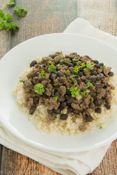 Spicy Ground Beef and Black Bean with Rice