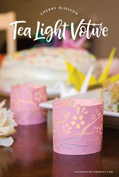 Cherry Blossom Tea Light Votive - Designs By Miss Mandee. These beautifully intricate paper votives make a great addition to a Japanese-themed party or romantic dinner. Download the printable and cut files for FREE!