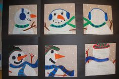 different views of snowman in oil pastels