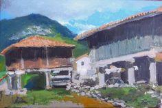 cuadro al oleo de un horreo de Asturias